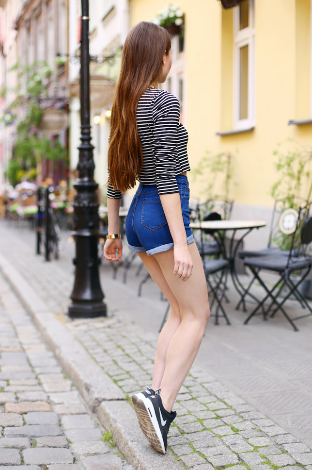 striped top denim shorts nike air max thea long hair outfit