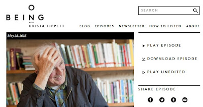 screen grab of OnBeing website for Jean Vanier interview