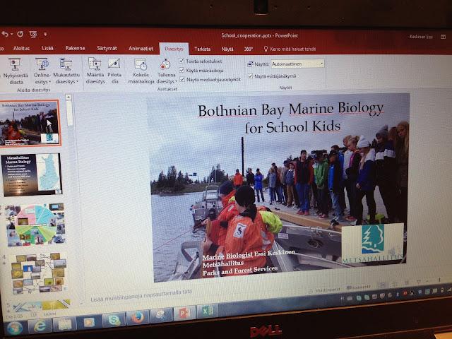 """Kuva power point -esityksestä nimeltä """"Bothnian Bay Marine Biology for School Kids"""""""