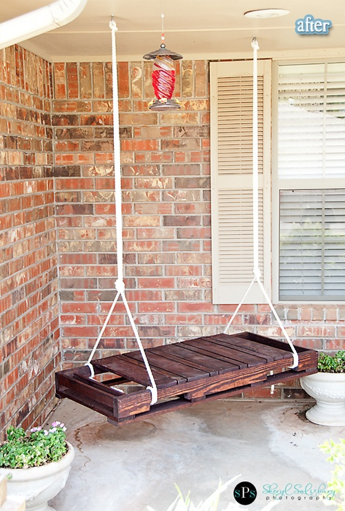 This hanging swing is made from recycled and restained pallets