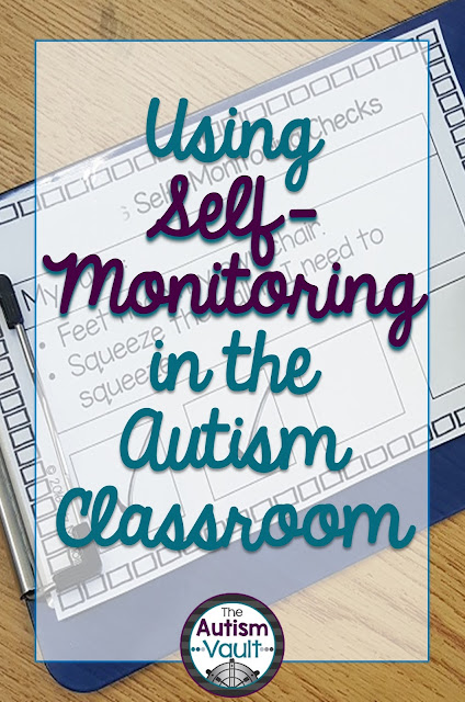 If you're completely new to the idea of self-monitoring, it's a strategy of student's being responsible for managing their own behavior.  I'm sure we're all familiar with the typical token economies (whether individual or for the whole class), but self-monitoring ups the ante.  Students must reflect on their behavior and whether or not they have followed the rules set up for them.  I especially love this strategy for older students.  It's pretty safe to assume that our students will not be walking around with a point sheet or a token economy system for the rest of their lives, so it's important for them to start reflecting on their behavior now.