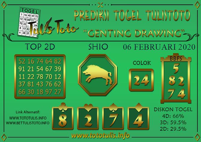 Prediksi Togel GENTING DRAWING TULISTOTO 06 FEBRUARI 2020