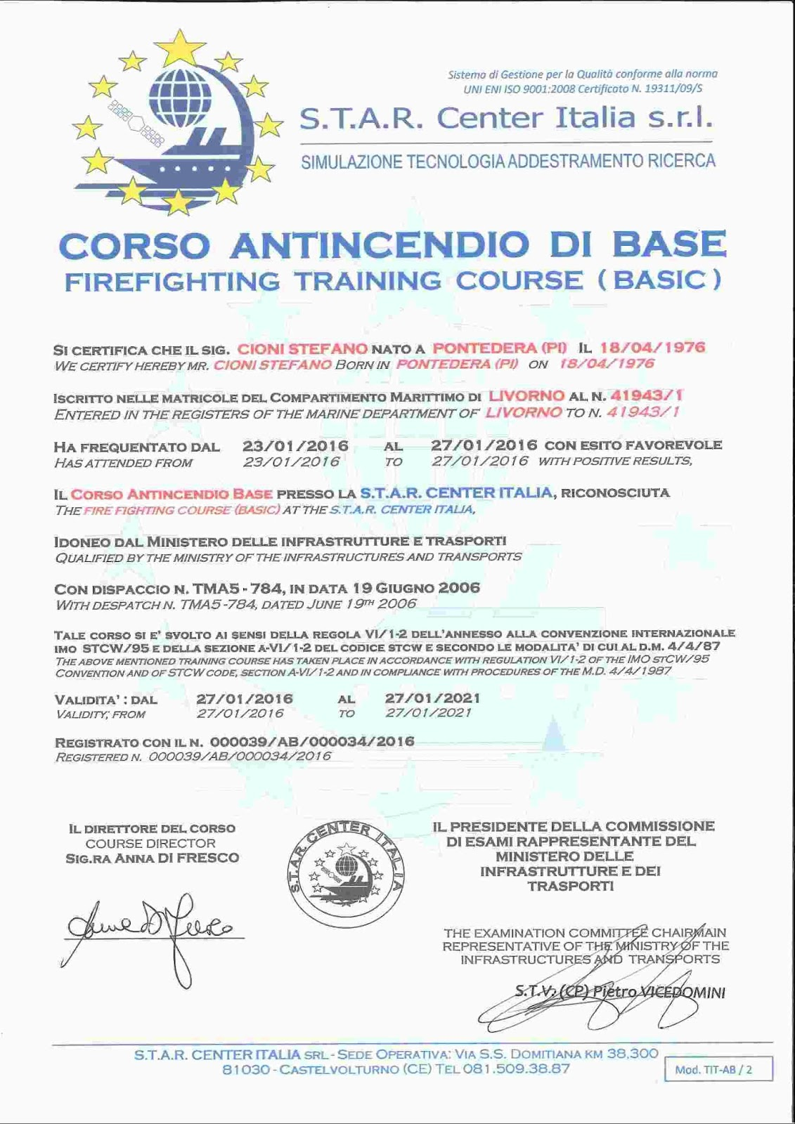 Capt stefano cioni mca master 200 gt rya yachtmaster ocean rya imo stcw security duty officier certificate 1betcityfo Choice Image