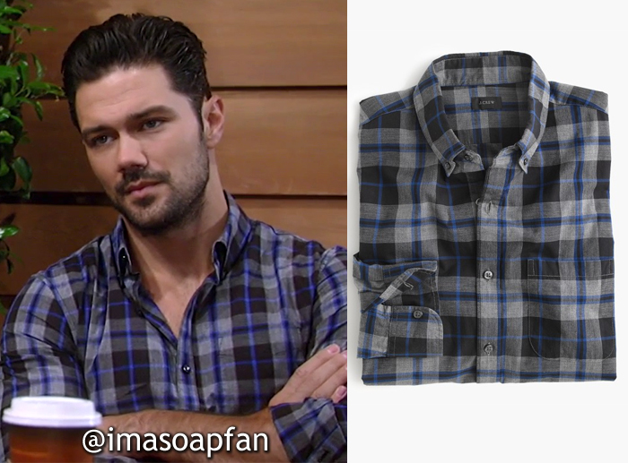 Nathan West, Ryan Paevey, Grey and Blue Plaid Shirt, J. Crew, General Hospital, GH