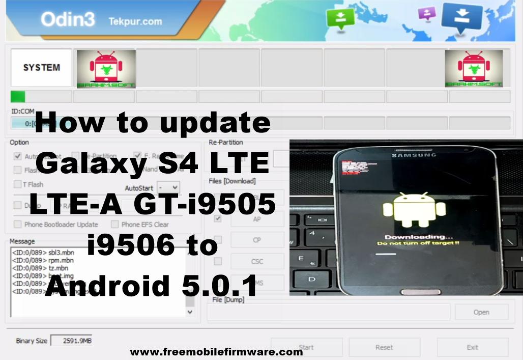 Flash Samsung Galaxy S4 LTE LTE-A GT-i9505 i9506 Lollipop 5 0 1