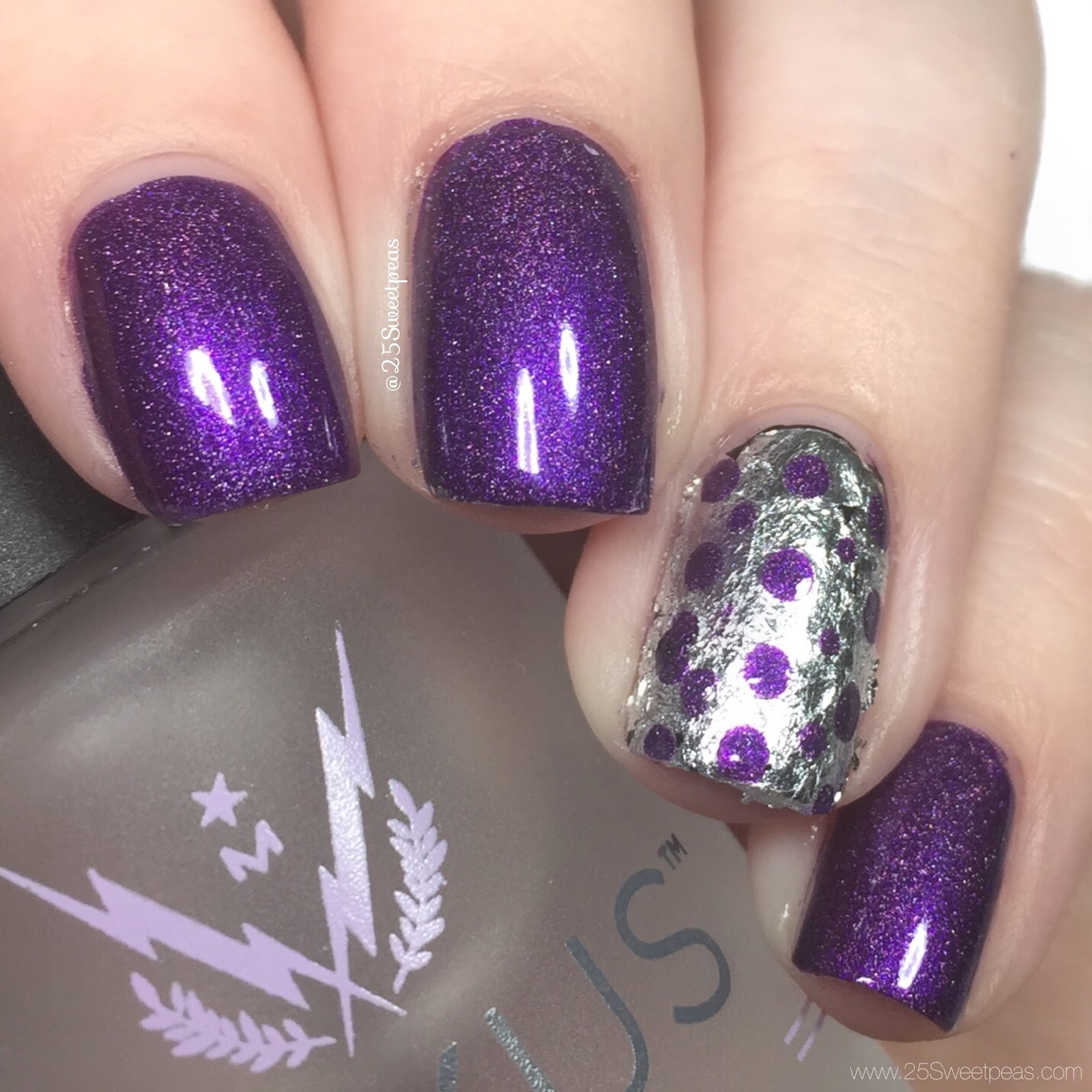 Purple Silver Foil nails