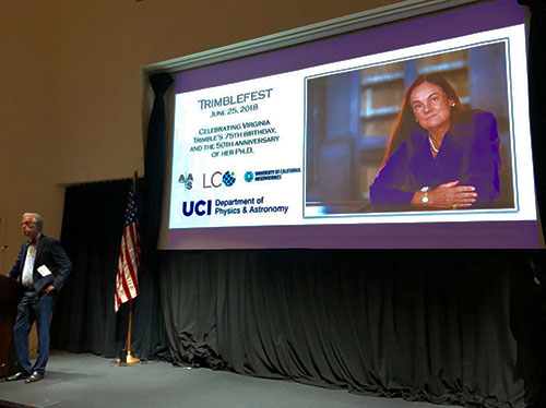 UCI Associate Dean McWilliams welcomes the crowd to honor Virginia Trimble at the Beckman Center