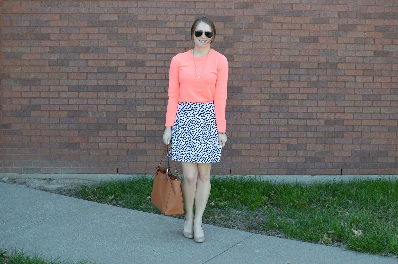 banana republic coral sweater | a memory of us blog