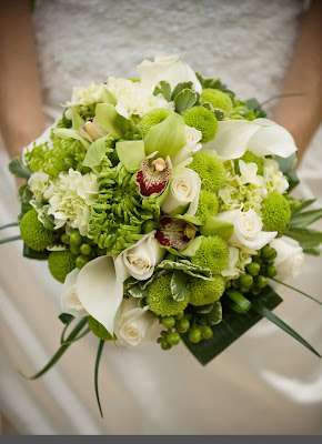 beautiful  wedding bouquet white green