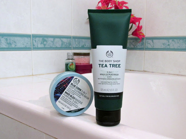 pamper routine 2016, The Body Shop blue corn 3-in-1 deep cleansing mask, The Body Shop tea tree oil 3-in-1 wash scrub mask