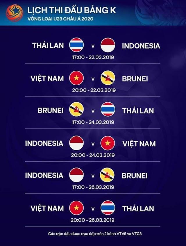 Lịch thi đấu vòng loại bảng K u23 châu Á tại Hà nội