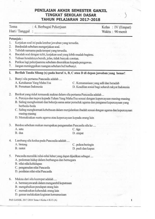 Soal Uas Ganjil Tema 4 Sd Kelas 4 Tahun 2017 Bse