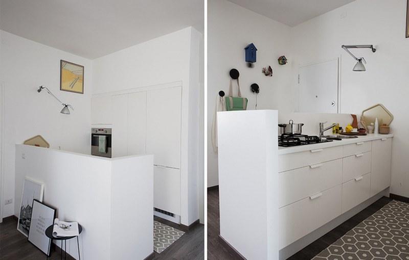 muretto in cartongesso per dividere cucina e soggiorno