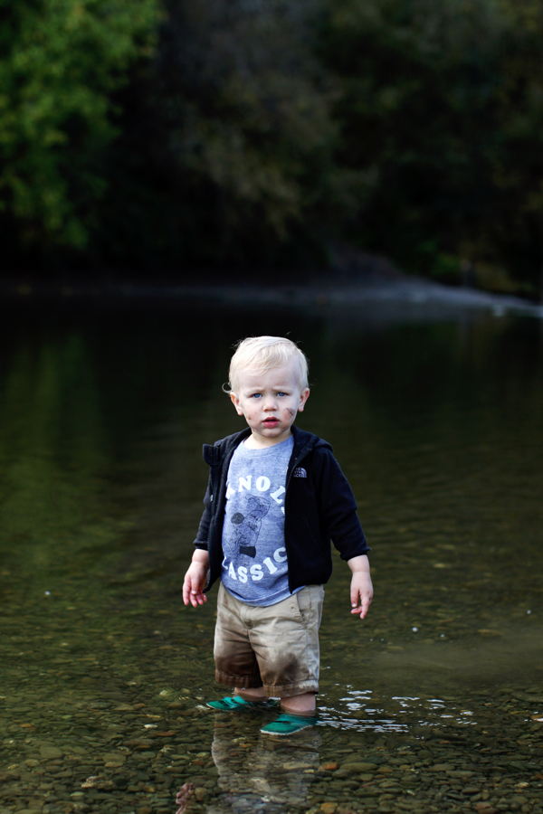 wading in the river