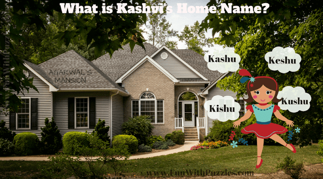 It is Fun Picture Riddle for Kids in which you have to find Kashvi's Home name from the given picture image