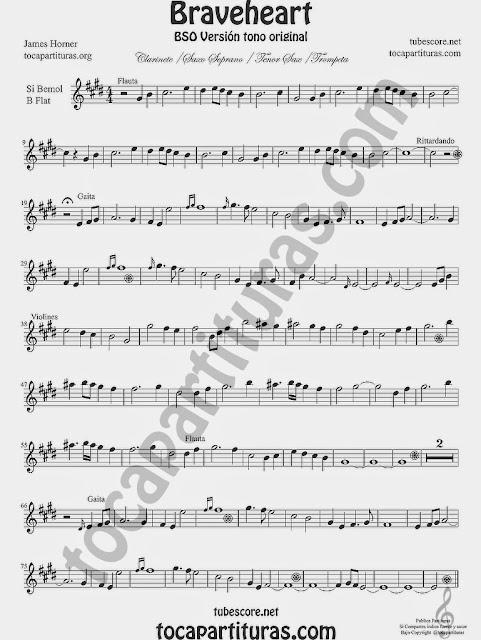 Braveheart Partitura de Trompeta, Saxo Tenor, Saxofón Soprano, Fliscorno, Clarinete e instrumentos afinados en Si bemol y clave de Sol Sheet Music for trumpet, tenor saxophone, clarinet, soprano sax b flat