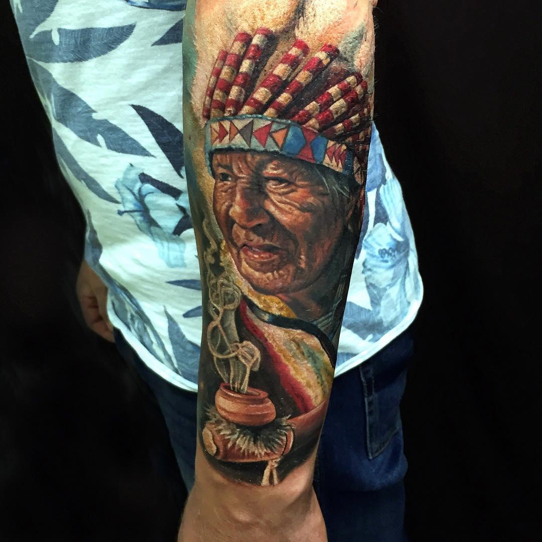 Old Indian Man Tattoo Tattoo Geek Ideas For Best Tattoos
