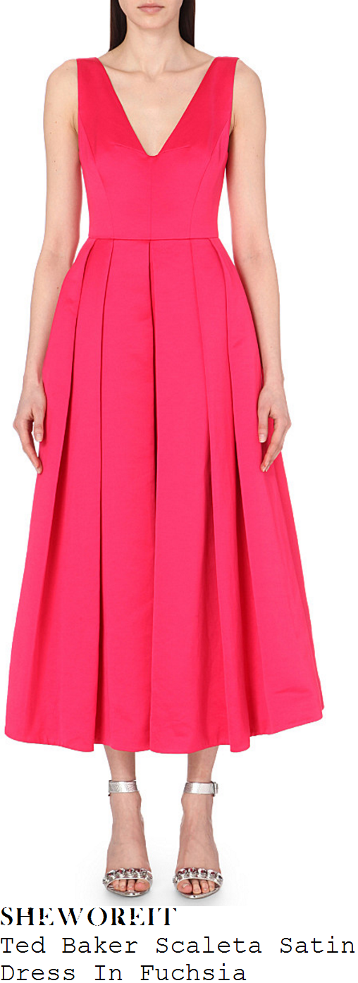 lorraine-kelly-ted-baker-scaleta-bright-fuchsia-pink-sleeveless-plunge-front-pleated-satin-midi-dress