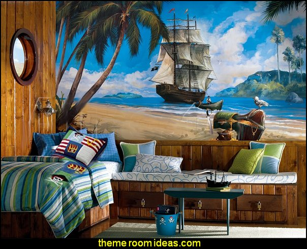 Pirate Chair Rail Prepasted Mural  pirate bedrooms - pirate themed furniture - nautical theme decorating ideas - pirate theme bedroom decor - Peter Pan - Jake and the Never Land Pirates - pirate ship beds - boat beds - pirate bedroom decorating ideas - pirate costumes