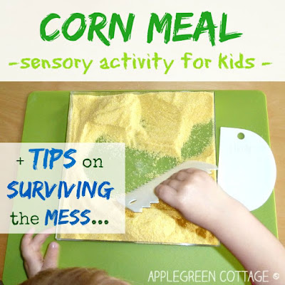 toddler sensory activity bin with corn meal