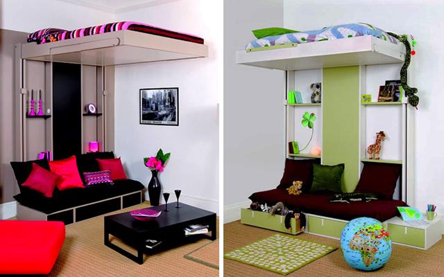 Marzua camas en alto para espacios peque os for Amueblar espacios pequenos