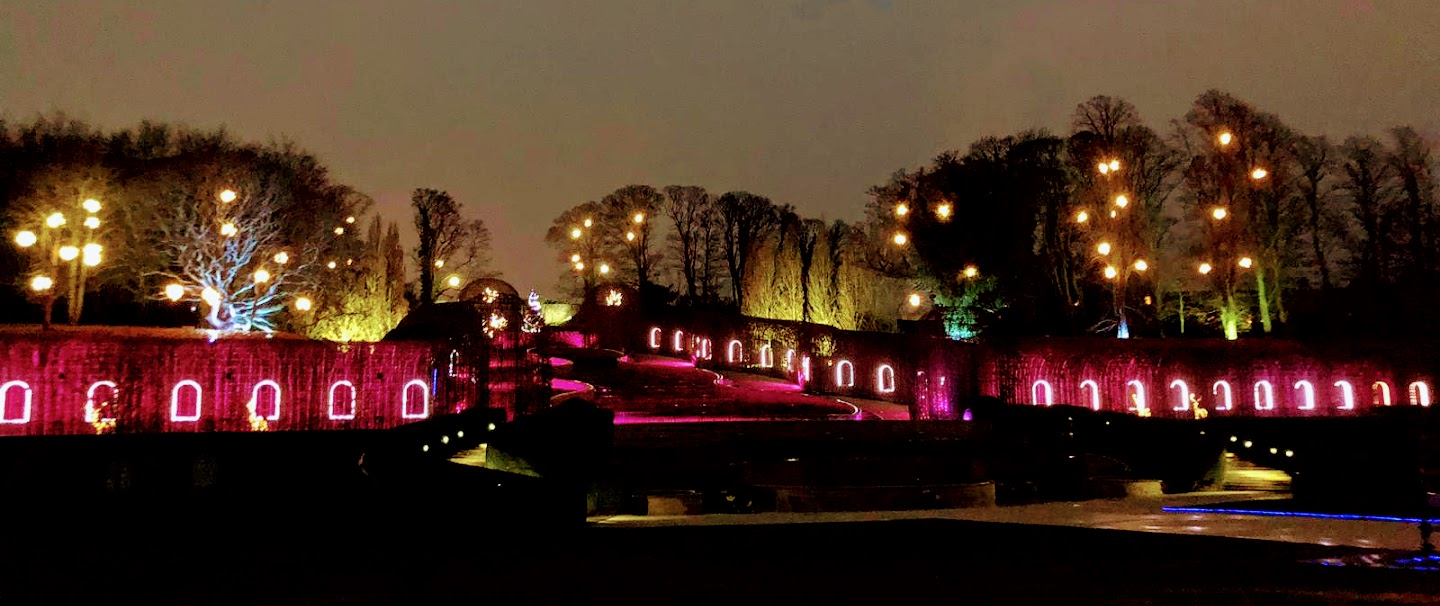 Alnwick Garden Santa Review  - fountain lights at night