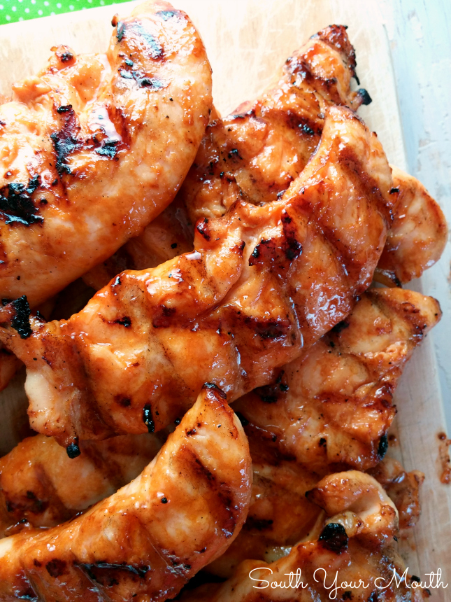 """Buffalo Feathers"" are grilled chicken tenders sauced like wings (similar to Wild Wing Cafe's) for all the fun and flavor of buffalo wings with half the work!"