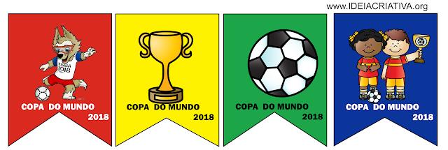 Copa Junina Bandeirolas para imprimir com figuras de futebol