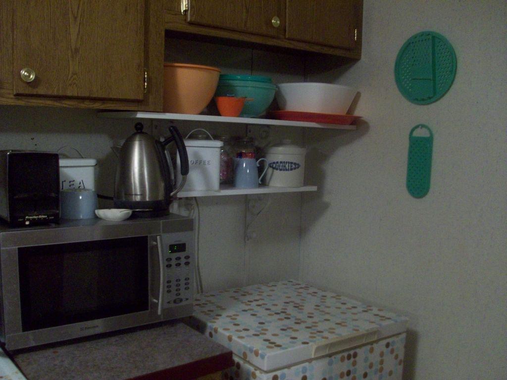 The new kitchen shelves