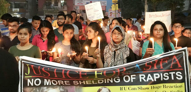 Candlestom march in Sarai Khwaja against abominable accidents happening with the daughters of the country