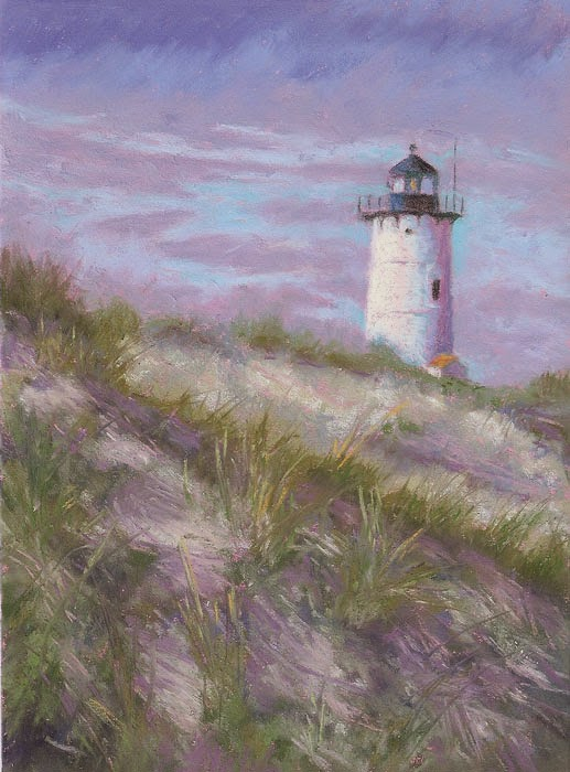 Pastel Painting Lighthouse In The Dunes Landscape Pastel