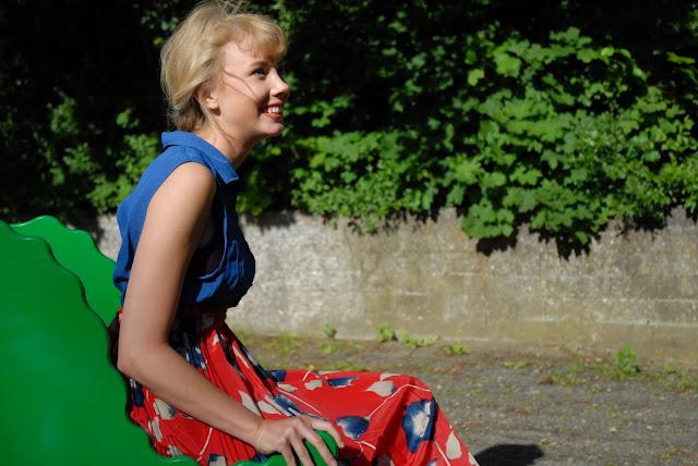 La Rue de Random DIY Red and Blue Floral Dress Lolita at