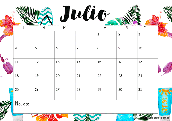 Calendario gratuito descargable e imprimible para julio 2016