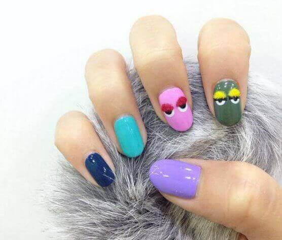 Colored Sugar Skull Nails Arts