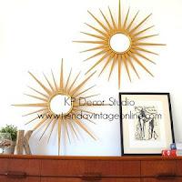 Comprar espejo sol vintage de madera dorada. tienda de espejos bonitos artesanales. años 50