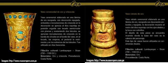 Vasos cerimoniais pré-colombianos no Museu Ouro do Peru - Lima