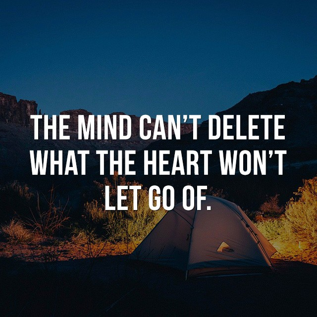 The mind can't delete what the heart won't let go of. - Beautiful Quotes with Pictures