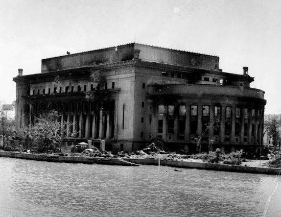 Damaged Manila Central Post Office building after the World War 2 as viewed from Jones Bridge.