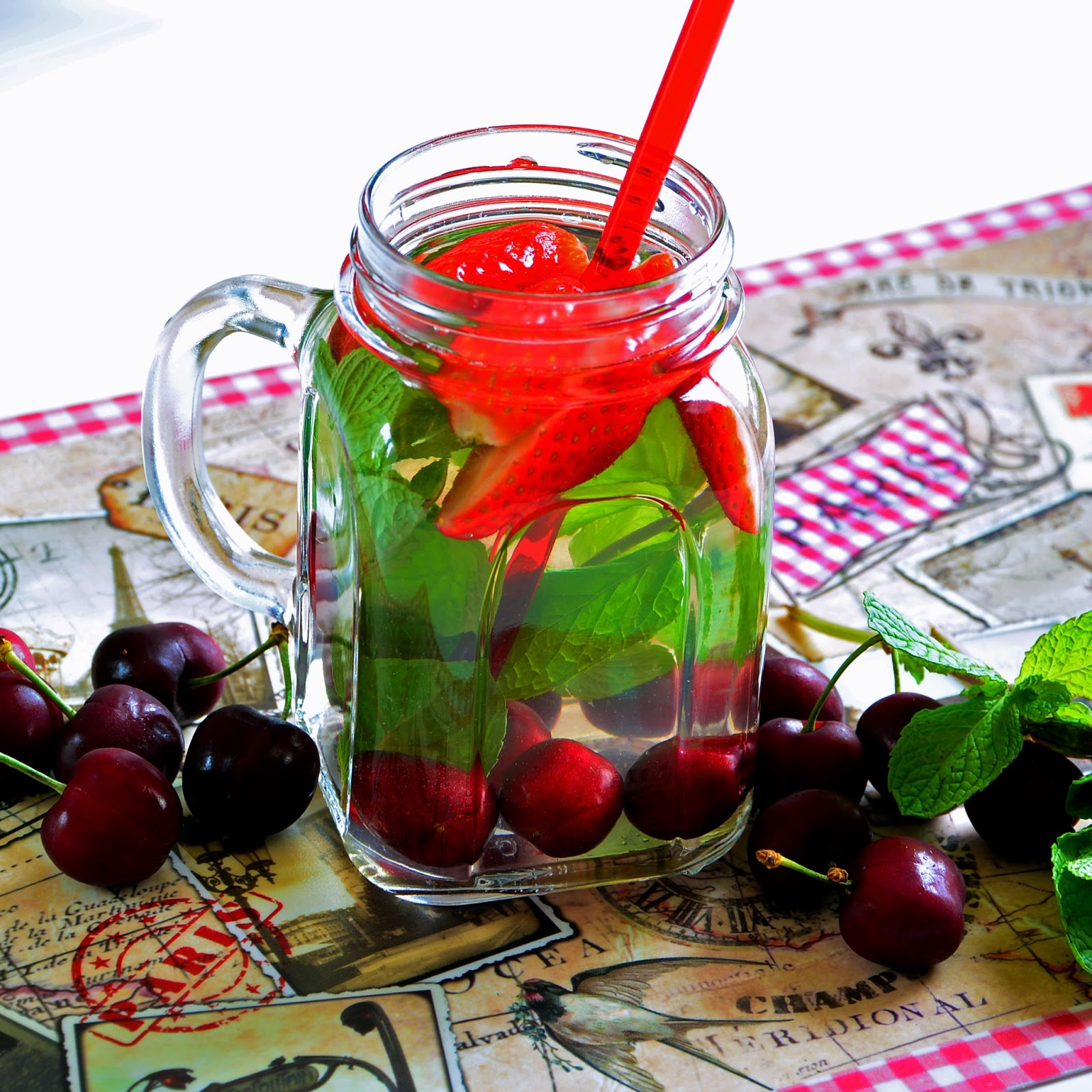 Detoxify With Cherry, Strawberry Detox Water