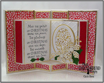 Our Daily Bread Designs, Holly Jolly Paper Collection, Merry Mosaics dies, Peaceful Poinsettia Dies, Lovely Leaves Dies, Merry and Bright, Bitty Border dies, Holly Ovals die, Pierced Rectangles, Ovals dies, designed by Chris Olsen