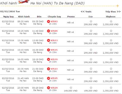 Giá Vé máy bay Hà Nội đi Đà Nẵng Vietjet Air