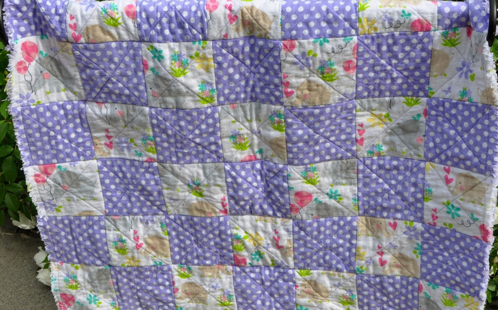 Richard and Tanya Quilts: Purple and White Heart and Elephant Baby