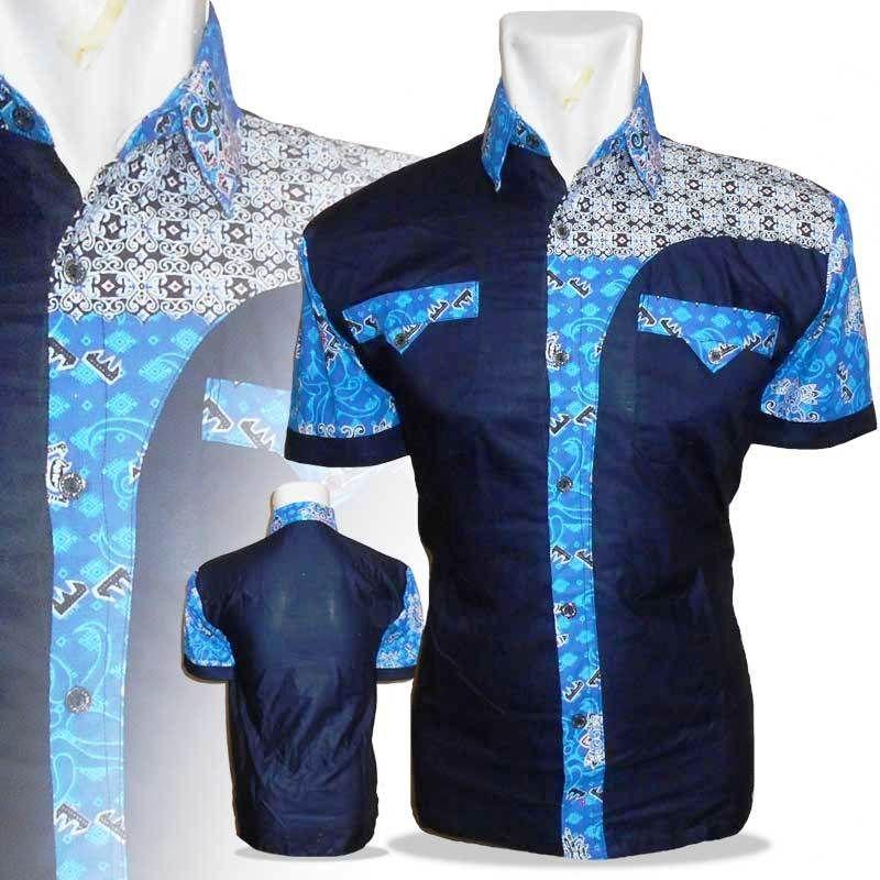 Model Baju Batik Pria Kombinasi Kain Polos