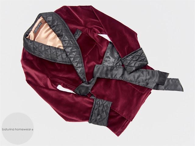 mens burgundy velvet smoking jacket quilted silk collar warm soft vintage victorian style smoker robe gentleman