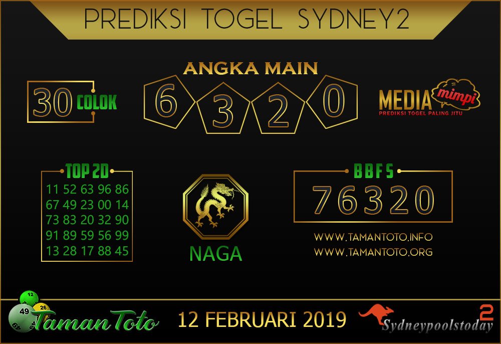 Prediksi Togel SYDNEY 2 TAMAN TOTO 12 FEBRUARI 2019