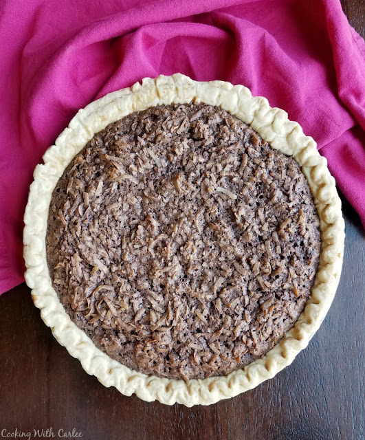 whole pie loaded with chocolate and coconut filling