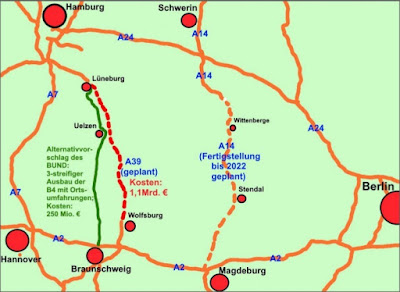 Autobahnen im Raum Hamburg-Hannover-Berlin (Grafik: BUND Gifhorn, Dr. Reinhard Schrader)