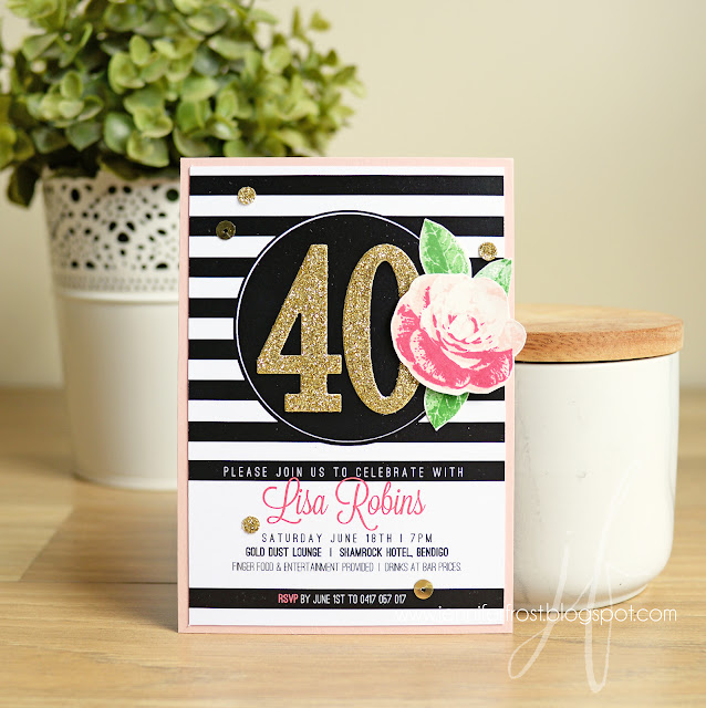 Bespoke Handcrafted Birthday Invitation, Papercraft by Jennifer Frost, Stampin' Up!, Kate Spade Inspired, Picture Perfect