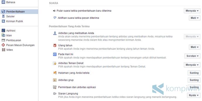 notifikasi facebook situs