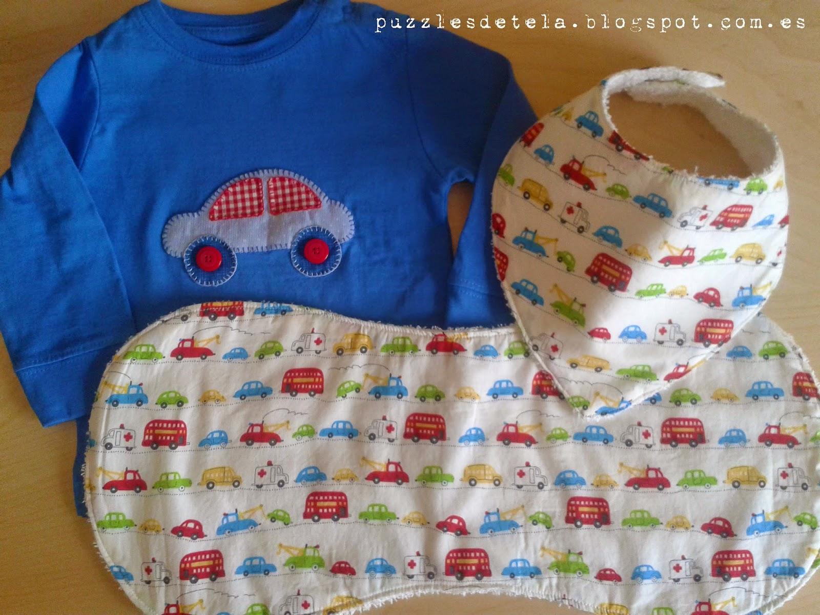 Puzzles de tela, regalos para bebés, babero bandolera, toalla de lactancia, patchwork, camiseta coche, camiseta patchwork,  hecho a mano, handmade